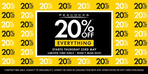 20% off everything at Peacocks
